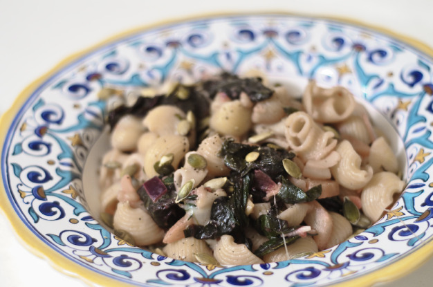 Conchiglie with Chard and Smoked Mozzarella