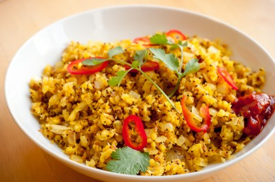 Poha with Coconut and Cashews