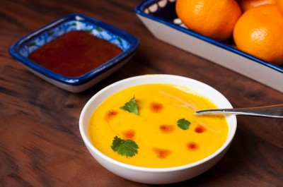 Red Lentil and Kabocha Squash Soup with Harissa Oil