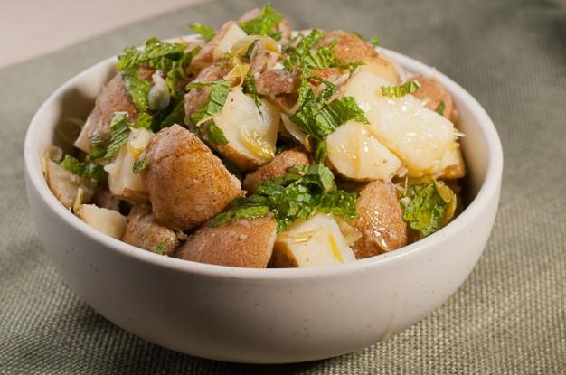 Green Garlic and Mint Potato Salad