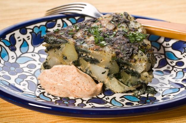 Tortilla De Espinacas - Spanish Omelet with Spinach