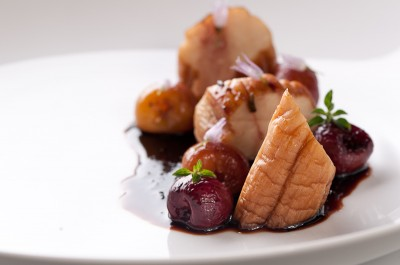 King Oyster Mushroom with Roasted Cherries and Sage