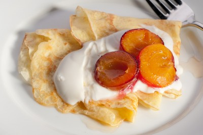 Crepes with Sage Roasted Plums and Yogurt