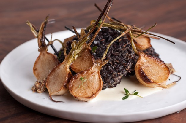 Black Rice Cakes with Roasted Turnips and Horseradish Cream