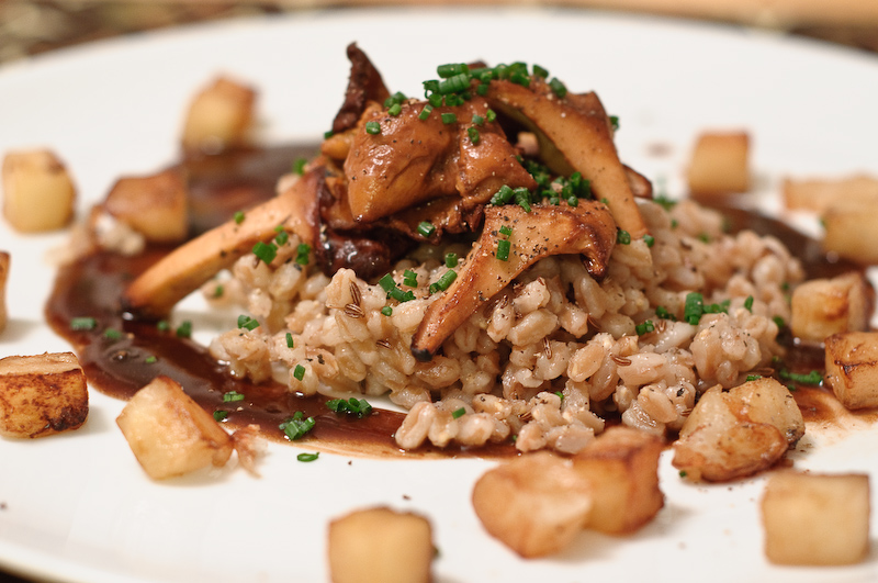 Farro, chanterelles, and King apples