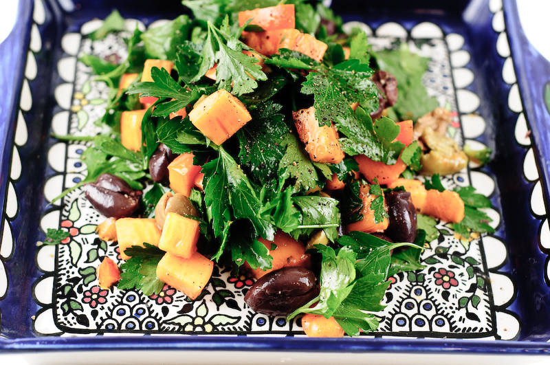 Parsley, persimmon and olive salad