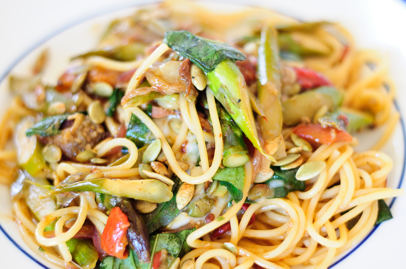Kitchen Sink Spaghetti With Asparagus Eggplant And