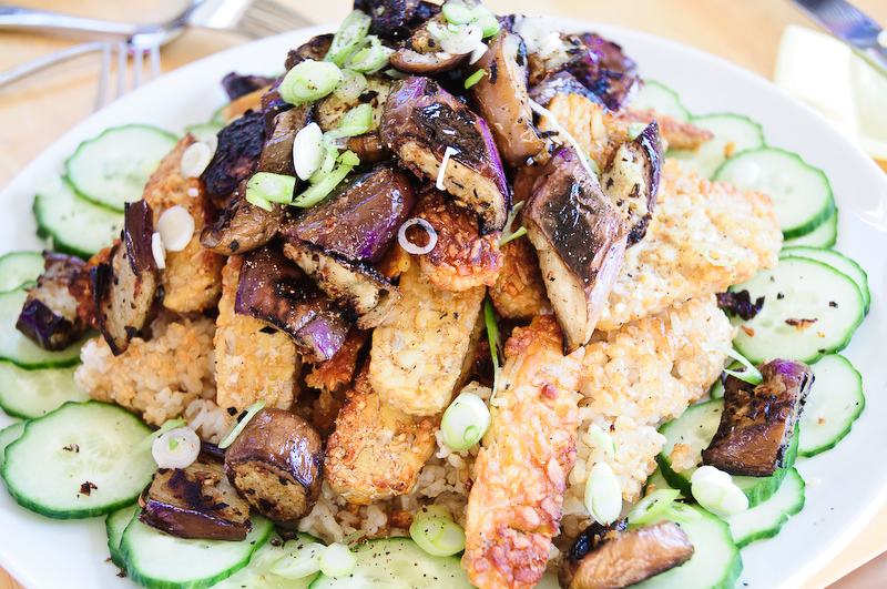 Tempeh and japanese eggplant with crispy rice recipe tempeh japanese eggplant forumfinder Images