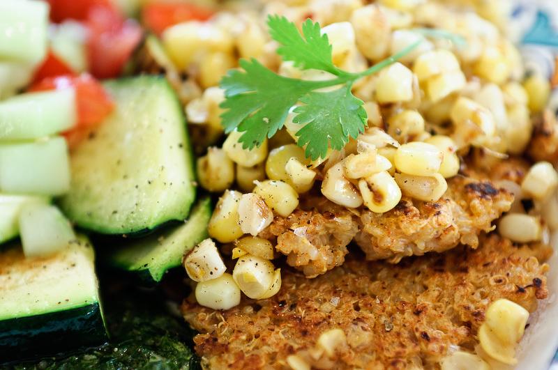 Quinoa_Cakes_Corn_Zucchini_Tomatoes