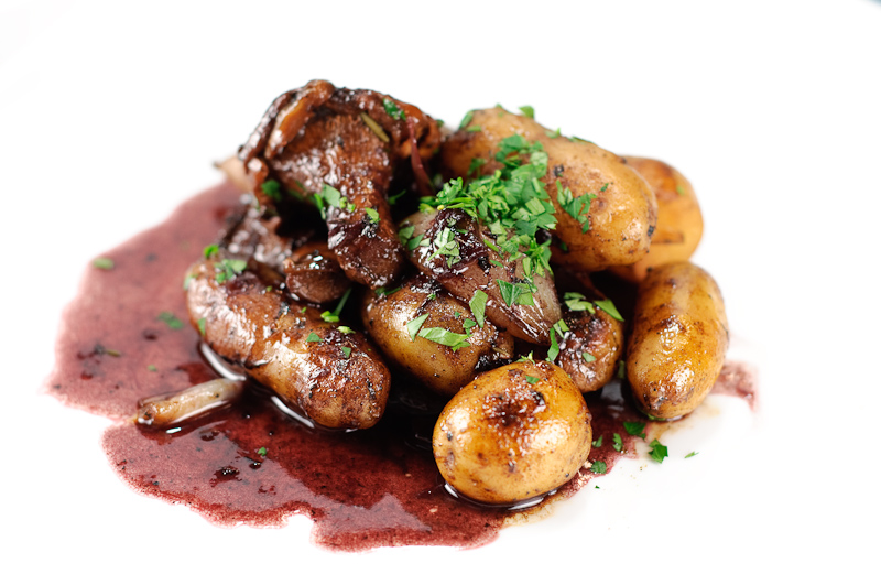 Potatoes, Chanterelles, Shallots in Red Wine Sauce ...