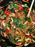 Stir frying japchae