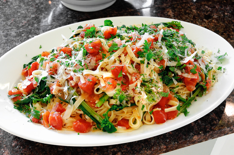 Fresh Fettuccine With Broccoli Raab In A Lemony Tomato