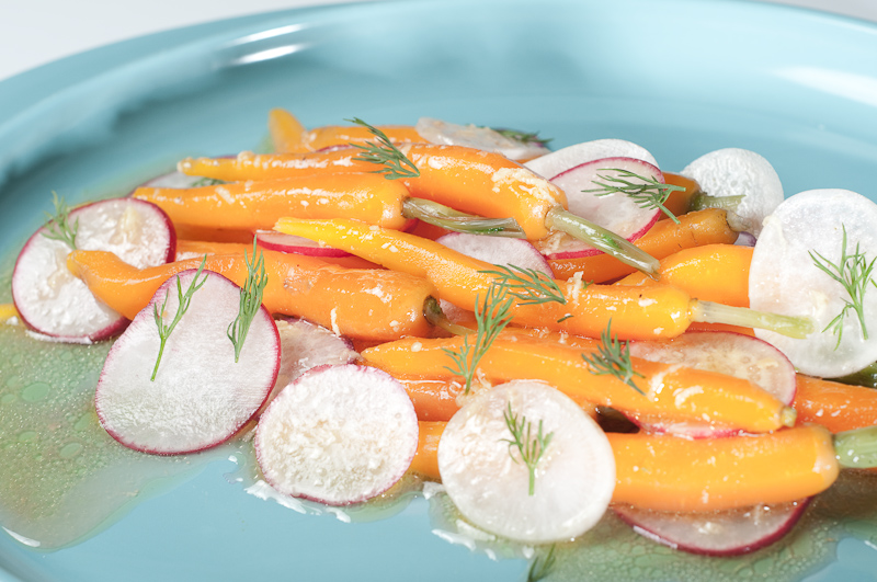 Salad with Cooked Baby Carrots and Sliced Radishes