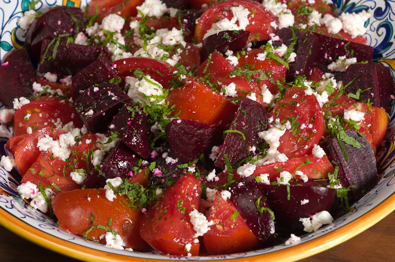 Tomato and Beet Salad with Feta and Mint