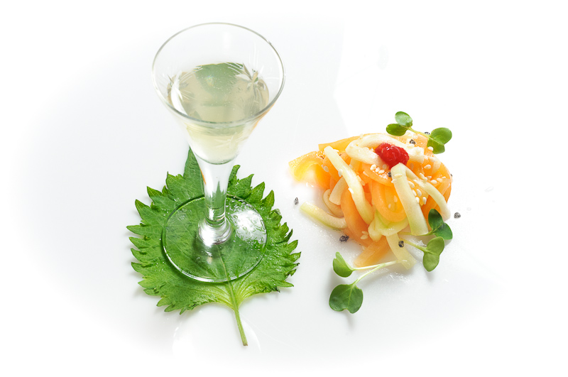 Compressed Cantaloupe & Cucumber Salad with Shiso Infused Sake