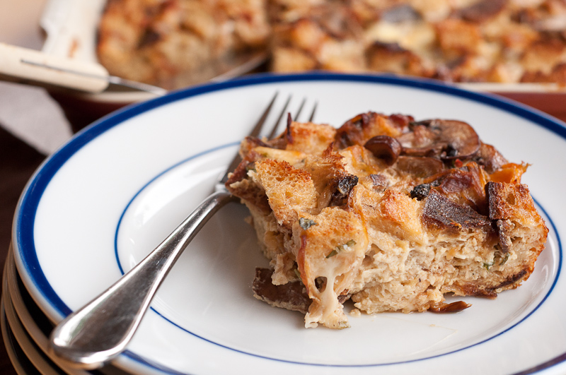 Strata with Caramelized Onions, Mushrooms and Smoked Mozzarella