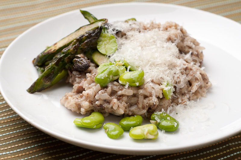 Mushroom Risotto With Asparagus and Fava Beans